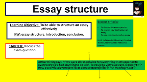 essay structure learning objective to be able to structure an  1 essay structure