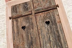 Holz Fensterläden Geschlossen Alten Verwitterten Fensterläden