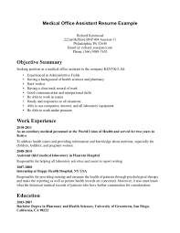 Entry Level Medical Resume Objective For Medical Resume Assistant Example Externship Entry 19