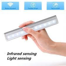 motion sensor night light potable 10 led closet lights battery powered wireless cabinet ir infrared motion detector wall l