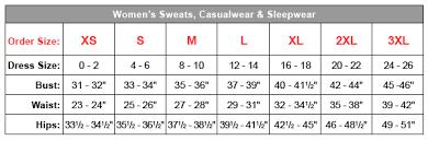 Women S Sweatpants Size Chart Sizes For Womens Hoodies Sweats Casualwears Sleepwear
