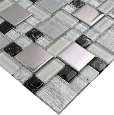 glass wall tiles. Glass Mosaic Kitchen Wall Tiles SSMT115 Black And White Tile Metal Stainless Steel Backsplash [SSMT115] - $27.09 :\u2026