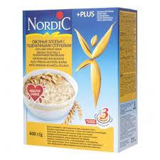 <b>Хлопья Nordic</b> (Нордик) овсяные с <b>пшеничными</b> отрубями, 600 гр ...