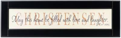 personalized wood framed sign off white wood sign with tan family name framed in black