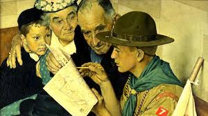 norman rockwell painted a scout is friendly in 1941 for publication in the 1943 brown bigelow boy scouts of america calendar