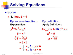 4 solving logarithmic equations