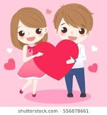 cute cartoon couple take heart smile happily