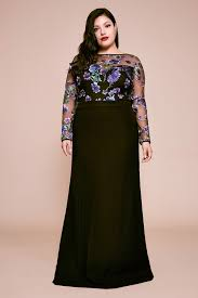 Zabel Floral Embroidered Crepe Gown Plus Size Tadashi Shoji