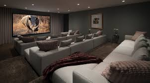 dark media room. Media Room Paint Ideas Home Theater Decorating For With Berber Carpet Also Gray Curtains Sofa And Dark