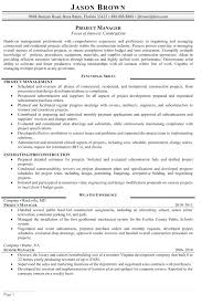Sample Construction Resume Project Manager Resume Templates Resume ...