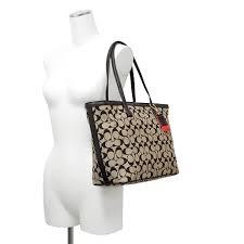 Coach /COACH legacy weekend signature medium tote bag 23107 B4COP (Khaki  Black × Black)
