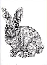Bunny Rabbit Abstract Doodle Zentangle Paisley Coloring Pages