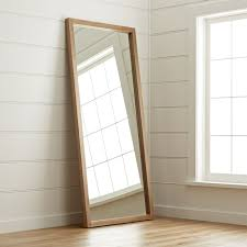Image Wall Mirrors Save 10 Crate And Barrel Linea Teak Floor Mirror Reviews Crate And Barrel