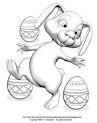 Bunny Rabbit And Easter Eggs Free Coloring Pages For Kids Coloring