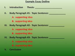 writing an outline ppt  example essay outline introduction thesis