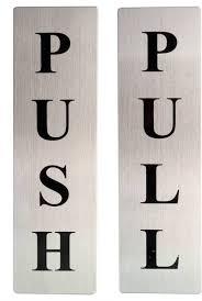 Hokipo Self Adhesive Stainless Steel Push Pull Metal Door Signage Board Sign