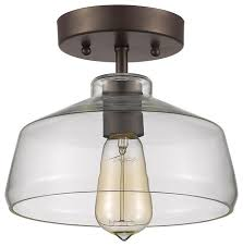 ens industrial style 1 light bronze semi flush ceiling fixture 9 shade