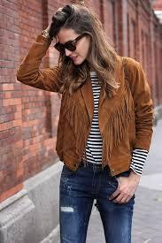 women s cropped fringe tassel suede jacket