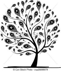 Tree Design Art Tree With Peacock Feather For Your Design Vector Illustration