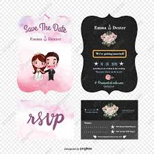 Cartoon Wedding Invitation Cards Designs Exquisite Cartoon Wedding Invitation Design Vector Material