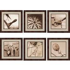 square brown grey sepia compass rope picture nautical themes framed wall art set of six on