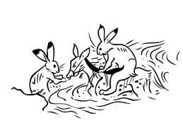 鳥獣戯画 ウサギ カエル 弓 線画 動物イラスト No 1478679無料