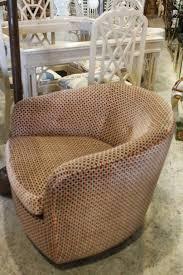 hollywood regency pair of milo baughman thayer coggin barrel arm swivel chairs with walnut base for