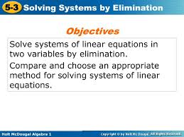 solve systems of linear equations in two variables by elimination