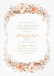 50th Birthday Invitations Templates Floral Adult 50th Birthday Invitations Elegant Fall