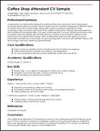 Coffee Shop Attendant Cv Sample | Myperfectcv