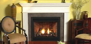 premium series premium direct vent fireplace with white profile mantel shown with optional aged brick