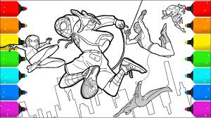 Color by number printable coloring pages for kids. Drawing And Coloring Spider Man Into The Spider Verse Youtube