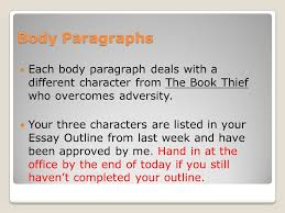 writing body paragraphs the book thief what is an essay what is  body paragraphs each body paragraph deals a different character from the book thief who overcomes