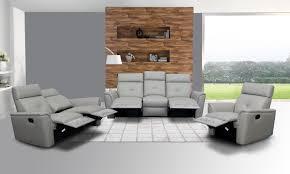 Modern Leather Living Room Set 8501 Recliner Light Grey Leather Modern 3 Pcs Sets Living Room