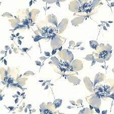 Brewster Ludor Blue Floral Wallpaper ...