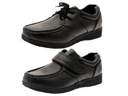 kids boys school shoes mens work black faux