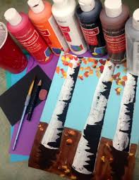 acrylic painting fall trees birch trees elementary art lessons middle school art