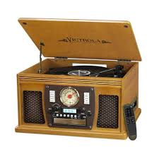 7 in 1 bluetooth record player with usb recording in oak