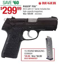 ruger p95 blue in 9mm 299 99 in at cabelas saay doorbuster free 2 day s h over 50