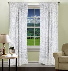 Indian Curtain Designs Pictures Amazon Com Vedant Designs Indian Curtain Set Silver Cotton