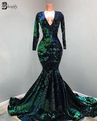 Sexy Mermaid Long Sleeve V-neck <b>Sparkly Black</b> And Green ...