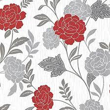 Rose Pattern Adorable Arthouse Carla Floral Rose Pattern Wallpaper Glitter Motif Vinyl