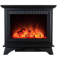 freestanding electric fireplace stove heater in black with tempered glass realistic flame and logs