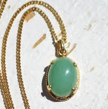 details about vintage chinese 1 20 12k gold filled green jade jadite oval pendant w gf chain