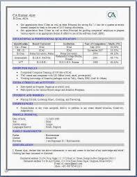 Articleship Resume Format Resume Template Sample