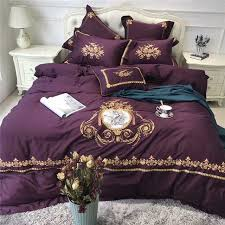 design purple egyptian cotton luxury royal bedding set gold embroidered of purple king size bedding