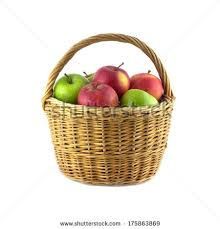 green and red apples in basket. ripe green and red apples in brown wicker basket isolated on white closeup 0