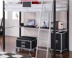 black silver finish metal twin loft bed with desk