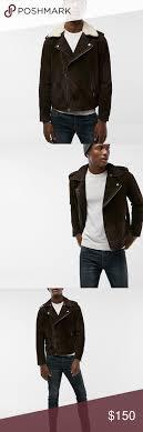 New Express Dark Brown Genuine Suede Sherpa Moto New Cool