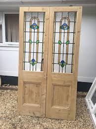 victorian edwardian stained glass french doors antique period old reclaimed lead